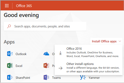 Screenshot of Office.com if signing in with a work or school account