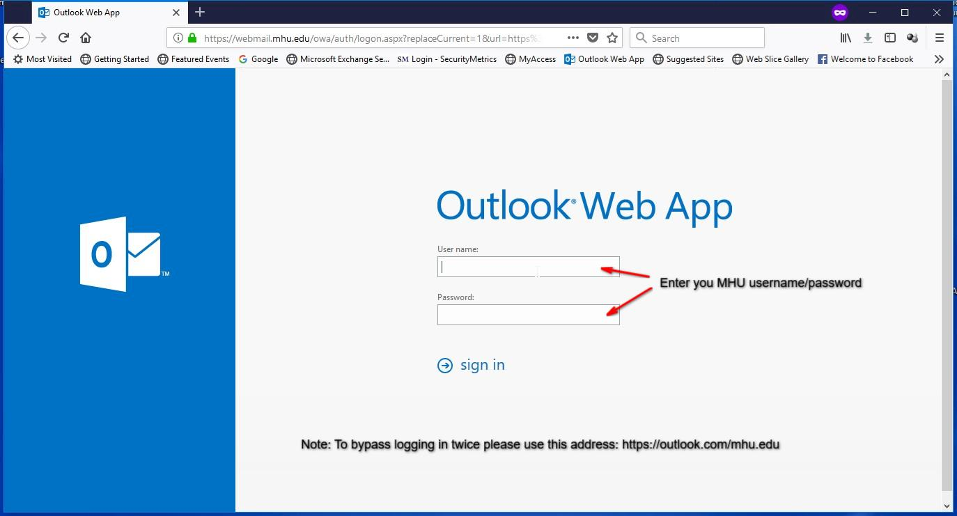 O365 Outlook Webmail Mhu Its Department Office 365 email login portal